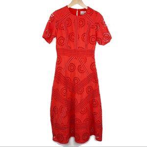 ASOS Red Eyelet Midi Dress Keyhole Back Sz 6